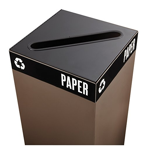 Safco Products 2987BL Public Square Recycling Receptacle Lid Slot Cutout for Newspaper and Paper Base sold separately Black