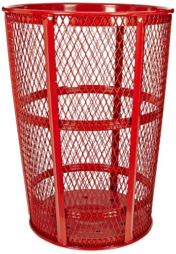 Witt Industries EXP-52RD Steel 48-Gallon Outdoor Waste Receptacle Round 23 Diameter x 33 Height Red