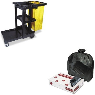 KITJAGL3339HRCP617388BK - Value Kit - Heavy Grade Industrial Strength Can Liners 33 Gal Cap 33 x 39 200Carton JAGL3339H and Rubbermaid Cleaning Cart with Zippered Yellow Vinyl Bag Black RCP617388BK