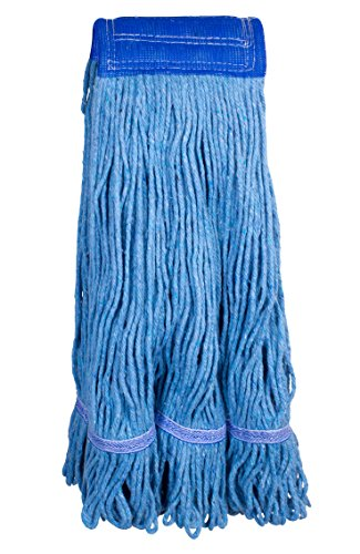 Commercial Swinger Loop Mop Head X-Large Universal Headband Blended Yarn With Nylon Scrubbing Pad 32 Ounce 4-Ply Blue