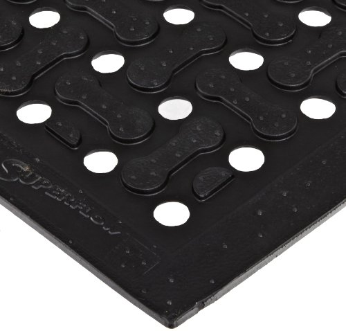 NoTrax T18 General Purpose Rubber Superflow SafetyAnti-Fatigue Mat for Wet or Greasy Areas 4 Width x 6 Length x 58 Thickness Black