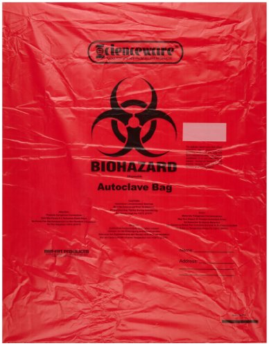 Bel-Art F13165-1923 Polypropylene 6-9 Gallon Super Strength Red Biohazard Disposal Bags with Warning LabelSterilization Indicator 19W x 23 in H 20mil Thick Pack of 200