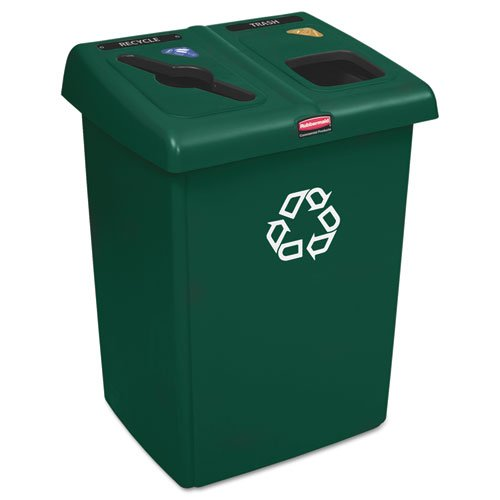 Rubbermaid Commercial Glutton Recycling Station Rectangular 2-Stream 46 Gal Green - Includes recycling station with one Glutton« receptacle two Slim Jim« Receptacles one lid frame and a label pack