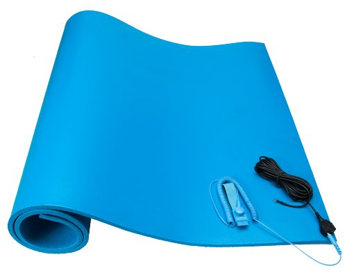 ESDProduct PVC Foam Mat Kit with Wrist Strap and 15 Ground Cord 38 Thick 4 Length 2 Width Blue