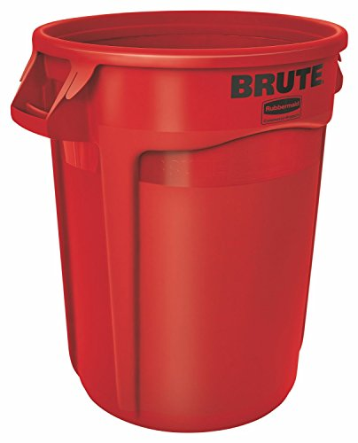 Rubbermaid Commercial FG264360RED BRUTE Heavy-Duty Round WasteUtility Container 44-gallon Red