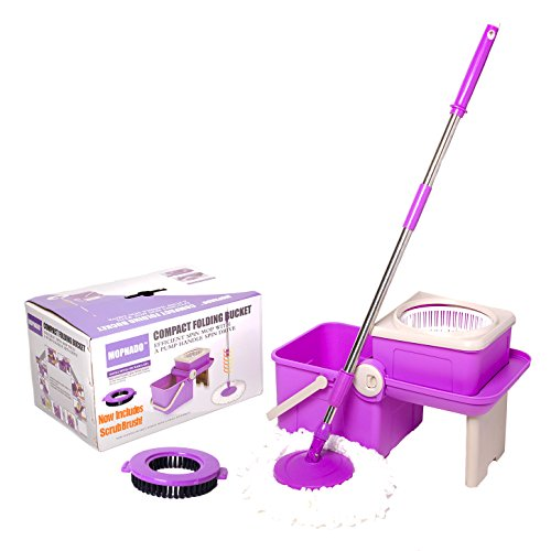 Mopnado Deluxe Compact Folding Spin Mop - Microfiber Mop with Bucket for Hardwood Floor and Dust - Foldable Purple