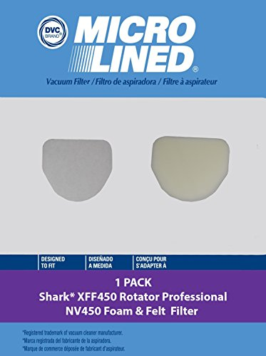 Shark Foam Felt Filter Kit 1pk  Filter  XFF450  For use with For use with Shark Rotator Professional Series Model NV450 NV472 NV480 by DVC Products