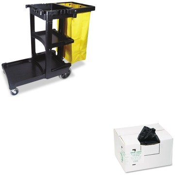 KITRCP617388BKWBIRNW4060 - Value Kit - EarthSense Recycled Can Liners WBIRNW4060 and Rubbermaid Cleaning Cart with Zippered Yellow Vinyl Bag Black RCP617388BK