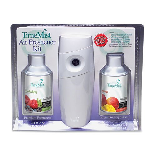 TimeMist Metered Fragrance Dispenser Kit w2 Refills Cans 66 oz Aerosol - one metered dispenser and two 30-day refills Mango and Voodoo Berry