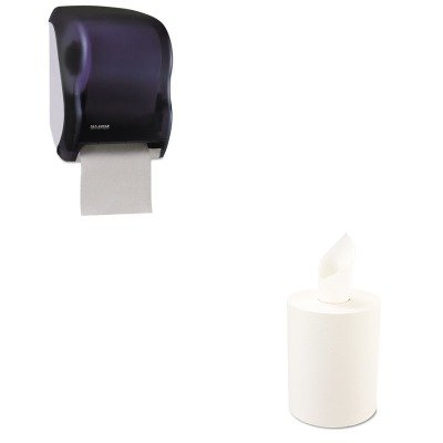 KITBWK6261SJMT1300TBK - Value Kit - Boardwalk 6261 White Nonperforated 1-Ply Hardwound Roll Paper Towels 600 BWK6261 and San Jamar T1300TBK Black Classic Tear-N-Dry Touchless Paper Towel Dispenser SJMT1300TBK