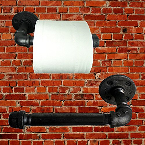 Jeteven Retro Toilet Paper Roll Holder Industrial Iron Pipe Wall Mount Black Color Bathroom Furniture