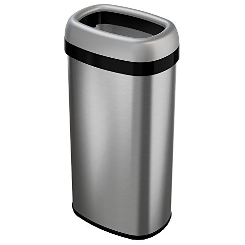 iTouchless 16 Gallon Dual-Deodorizer Oval Open Top Trash Can Commercial Grade Stainless Steel 60 Liter Open Garbage Can